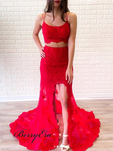 Two Pieces Mermaid Long Prom Dresses, Straps Lace Prom Dresses, Popular Prom Dresses