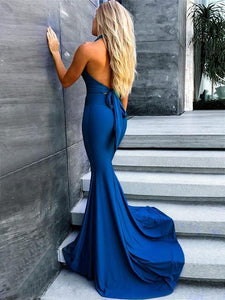 V-neck Royal Blue Jersey Mermaid Long Prom Dresses