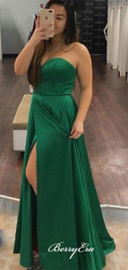 Simple Design Strapless Prom Dresses, Slit Prom Dresses Long, Evening Party Dresses