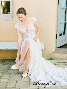 Elegant Lace A-line Wedding Dresses, Popular Lace Bridal Gowns, Wedding Dresses
