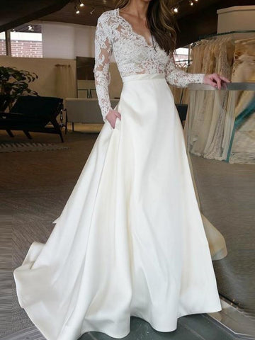 Long Sleeves Lace Wedding Dresses, A-line Wedding Dresses, Elegant Wedding Dresses
