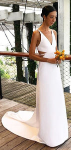 V-neck Simple Custom Wedding Dresses, Affordable Wedding Dresses, Beach Wedding Dresses