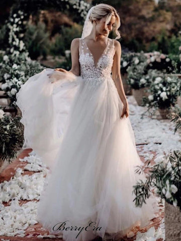 A-line Tulle Wedding Dresses, Popular Wedding Dresses, Lace Wedding Dresses
