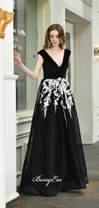V-neck Newest Long Prom Dresses, Lace Prom Dresses, 2020 Prom Dresses