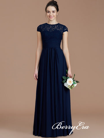 Navy Illusion A-line Lace Chiffon Long Bridesmaid Dresses