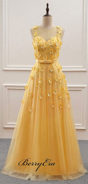 Lace Appliques Elegant A-line Long Prom Dresses 2019 Newest