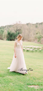 Elegant Popular Wedding Dresses, Lace Wedding Dresses, Outdoor Bridal Gowns