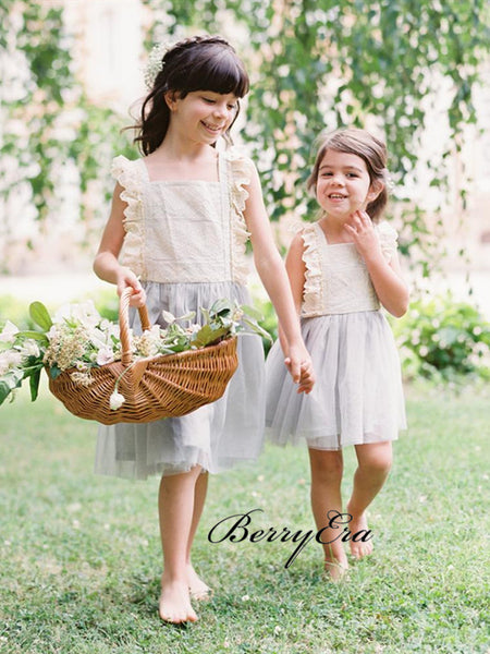 Cute Wedding Flower Girl Dresses, Lace Tulle Flower Girl Dresses