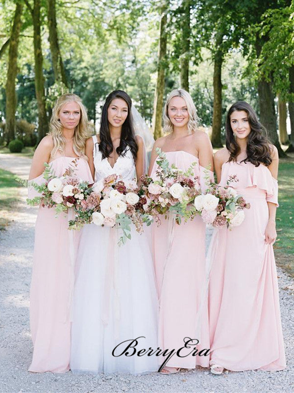 Strapless Pink Chiffon Bridesmaid Dresses, A-line Wedding Bridesmaid Dresses