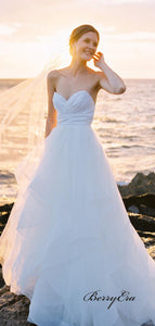 Sweetheart A-line Tulle Wedding Dresses, Strapless Elegant Beach Wedding Dresses