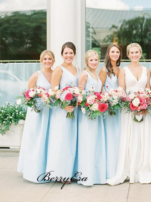 Light Blue A-line Bridesmaid Dresses, A-line V neck Bridesmaid Dresses