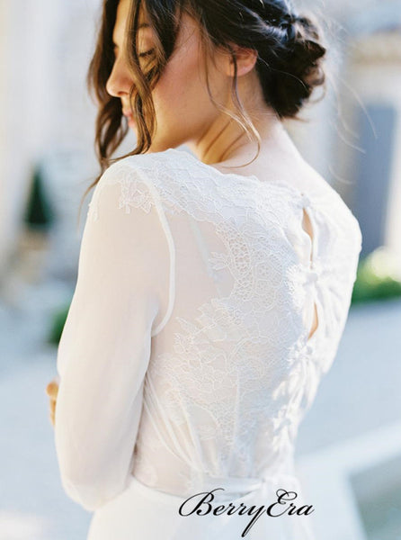 Long Sleeves See Through Wedding Dresses, Popular Lace A-line Wedding Dresses