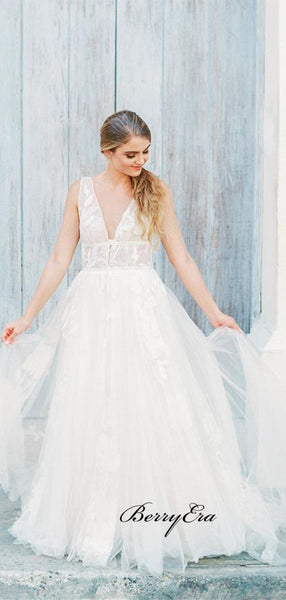 Graceful A-line Tulle Wedding Dresses, V-neck Lace Elegant Wedding Dresses