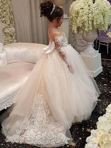Lovely Lace Tulle A-line Flower Girl Dresses With Bow