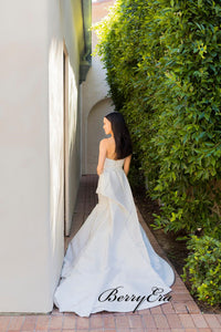 Elegant Strapless Satin Wedding Dresses, Mermaid Outdoor Wedding Dresses, Bridal Gowns