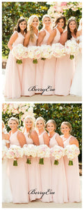 New Simple Pink Bridesmaid Dresses, A-line Chiffon Bridesmaid Dresses