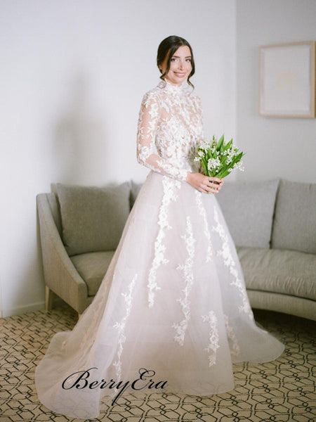 Long Sleeves See Through Wedding Dresses, A-line Lace Elegant Wedding Dresses