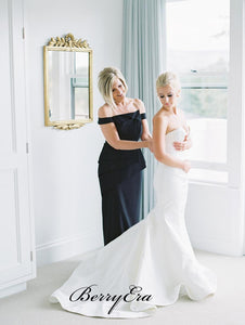 Elegant Sweetheart Stain Wedding Dresses, Mermaid Strapless Wedding Dresses