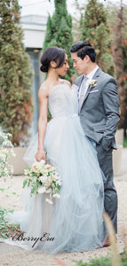 Sweetheart A-line Tulle Wedding Dresses, Popular Elegant Wedding Bridal Gowns