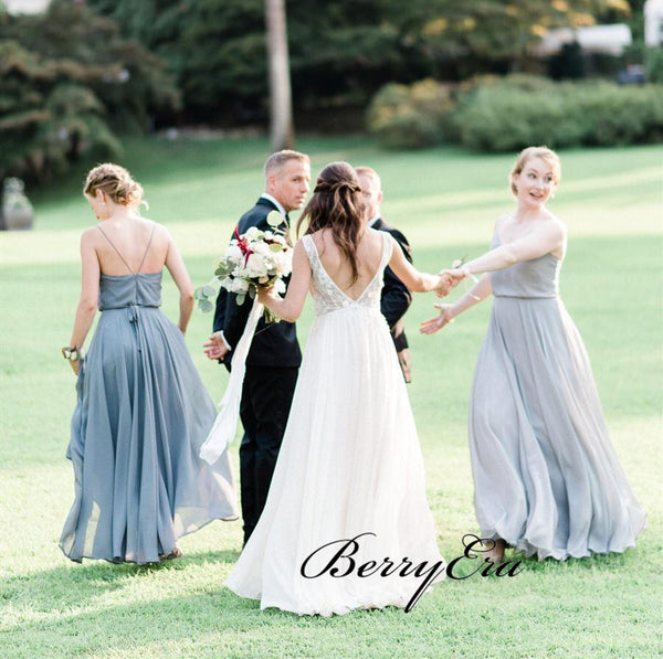 Spaghetti Straps Elegant Bridesmaid Dresses, Chiffon Simple Bridesmaid Dresses