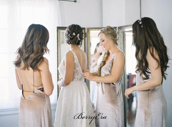 Sexy Straps Bridesmaid Dresses, Simple Cheap Bridesmaid Dresses