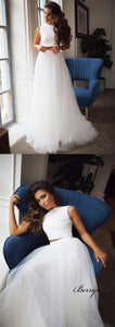 2 Pieces Lace Top Ivory Tulle Skirt Long Wedding Dresses, Bridal Gown