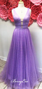 Purple Elegant Beaded Prom Dresses, A-line Charming Party Prom Dresses