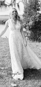 Deep V-neck Trendy Wedding Dresses, A-line Popular Lace Wedding Dresses
