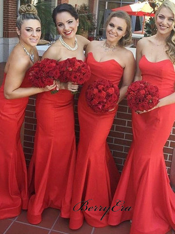 Sweetheart Strapless Bridesmaid Dresses, Red Color Mermaid Bridesmaid Dresses