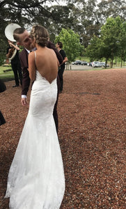 Spaghetti Long Mermaid Lace Country Wedding Dresses