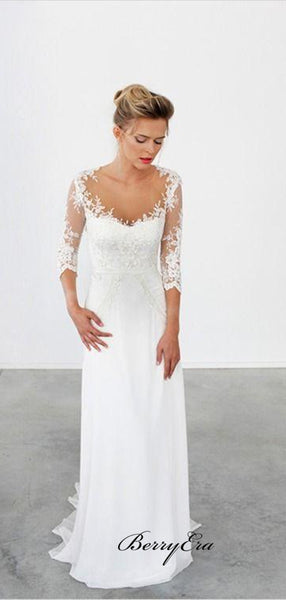 Unique Lace 3/4 Sleeve White Long Wedding Dresses,Formal Cheap Beach Bridal Gowns