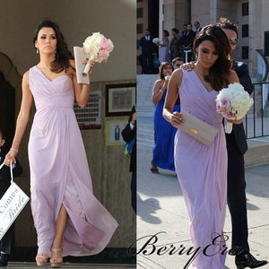 One Shoulder A-line Lilac Chiffon Bridesmaid Dresses, Side Slit Bridesmaid Dresses