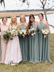 Halter Wedding Bridal Dresses, A-line Simple Bridesmaid Dresses