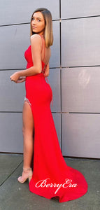 Two Pieces Straps Red Color Prom Dresses, Newest Beaded Graducation 2020 Prom Dresses