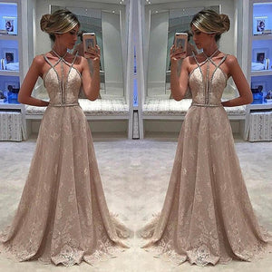 Spaghetti Strap Halter Full Lace Evening Party Prom Gown Dresses