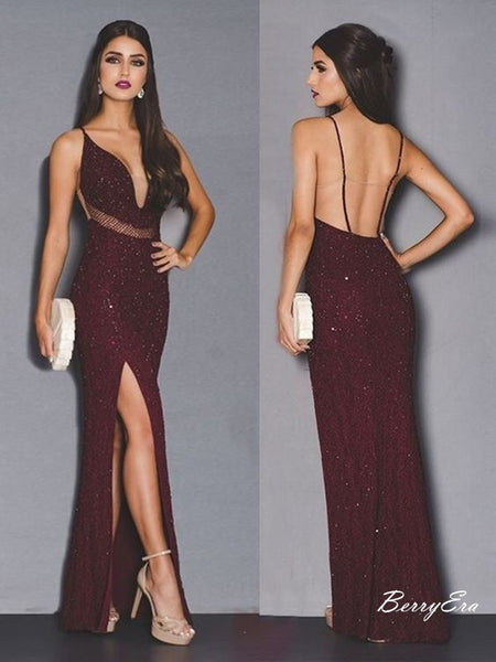 Sexy Deep V Neck Open Back Slit Burgundy Prom Dresses Long Sequins Prom Dresses