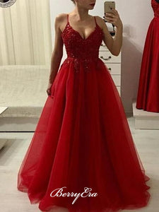 A-line Tulle Evening Party Prom Dresses, Beaded Popular Prom Dresses