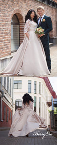 Half Sleeves Lace Top Satin A-line Long Wedding Dresses, Bridal Gown