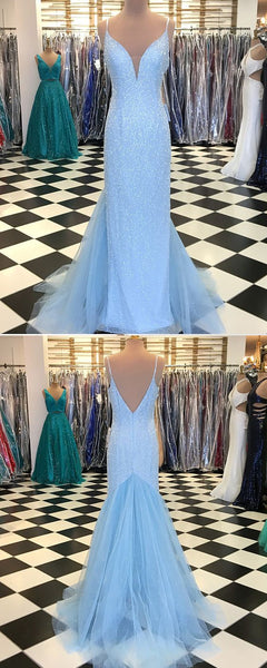 Spaghetti Ling Sheath Sequin Tulle Blue Prom Dresses