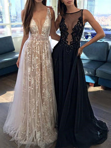 2019 New V-neck Sexy Long Prom Dress, Evening Party Lace Dress