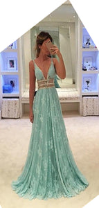 V Neck Sexy Charming 2019 Prom Dress, Lace Beads Tulle Prom Dress