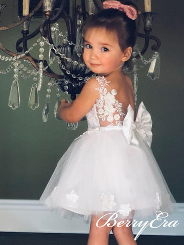Ivory Lace Appliques Lovely Flower Girl Dresses