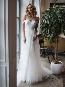 Off Shoulder A-line Appliques Tulle Long Wedding Dresses, Bridal Gown