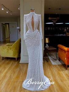High Neck Long Sheath White Sequin Prom Dresses, Long Sleeves Prom Dresses, 2020 Prom Dresses