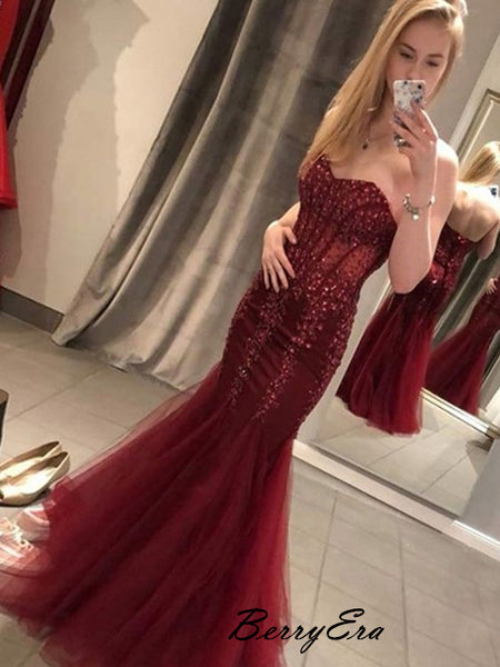 Strapless Mermaid Beaded Sexy Prom Dresses, Long Prom Dresses 2019