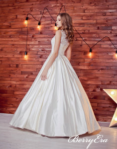 Sleeveless Lace Top A-line Ivory Satin Long Wedding Dresses, Bridal Gown