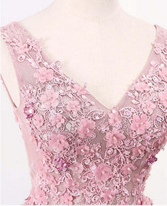Dusty Pink Lace Appliques Long A-line Prom Dresses
