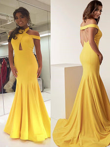Bright Yellow Sleeveless Mermaid Long Prom Dress 2019 New Dress