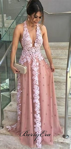 Halter Deep V-neck Lace Prom Dresses, Sexy Prom Dresses Long