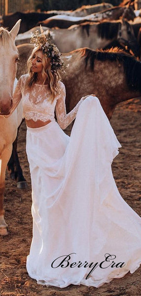 Two Pieces Long Sleeves Wedding Dresses, Fancy A-line Wedding Dresses
